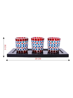 Hand Crafted Glass Votives with wooden Tray - 15614375 - Standard Image - 3