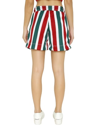tie-knot detail striped shorts - 15614574 - Standard Image - 3