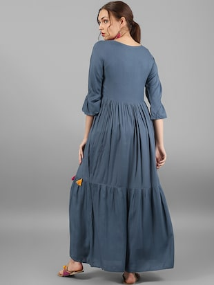 Flared dress with tassels - 15614664 - Standard Image - 3