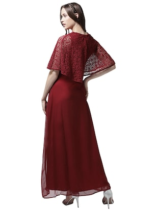 v neck lace overlay maxi dress - 15615418 - Standard Image - 3