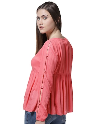 button closure sleeve gathered top - 15615435 - Standard Image - 3