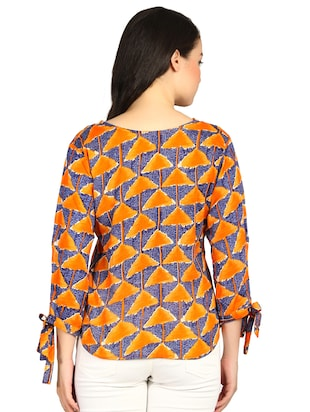 side tie up sleeved geometric print top - 15615542 - Standard Image - 3