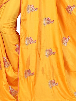 conversational mustard embroidered saree with blouse - 15615585 - Standard Image - 3