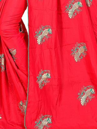 conversational red embroidered saree with blouse - 15615593 - Standard Image - 3