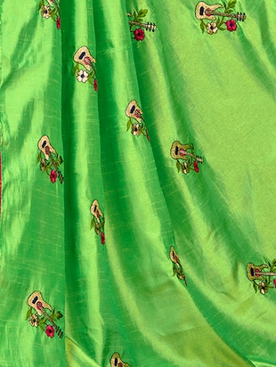 conversational green embroidered saree with blouse - 15615602 - Standard Image - 3