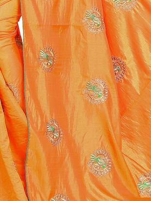 conversational orange embroidered saree with blouse - 15615611 - Standard Image - 3