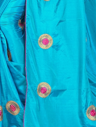 floral blue embroidered saree with blouse - 15615616 - Standard Image - 3