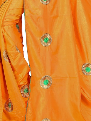 floral orange embroidered saree with blouse - 15615617 - Standard Image - 3