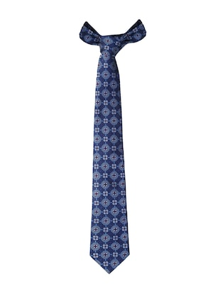 blue micro fiber tie with pocket square and cufflink - 15615759 - Standard Image - 3