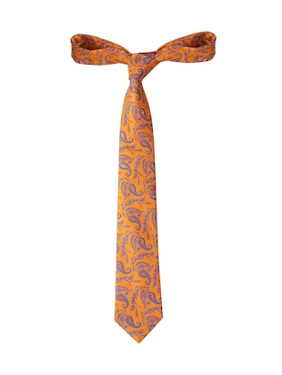 orange micro fiber tie with cufflink and pocketsquare - 15615760 - Standard Image - 3