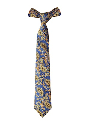 blue microfiber tie with cufflink and pocket square - 15615762 - Standard Image - 3