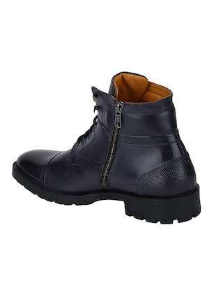 navy Leather high ankle boots - 15616448 - Standard Image - 3