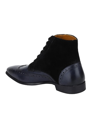 navy Leather low ankle boots - 15616465 - Standard Image - 3