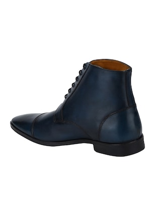navy Leather high ankle boots - 15616473 - Standard Image - 3