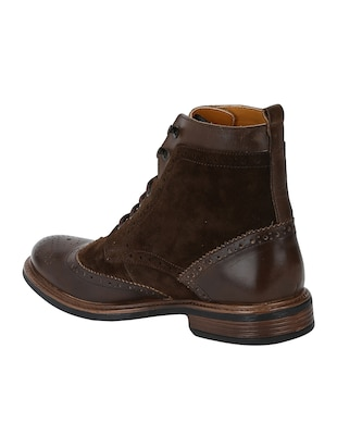 brown Leather high ankle boots - 15616493 - Standard Image - 3