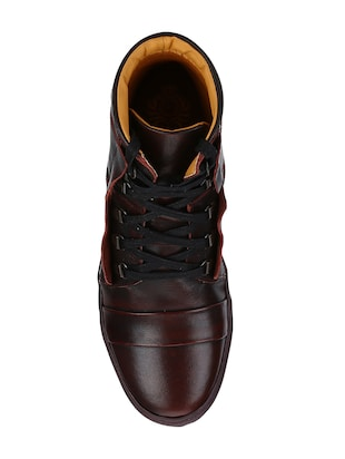 brown Leather lace up sneakers - 15616503 - Standard Image - 3
