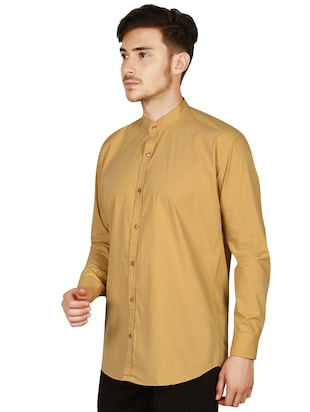 beige cotton casual shirt - 15616552 - Standard Image - 3