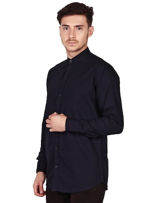 navy blue cotton casual shirt - 15616553 - Standard Image - 3