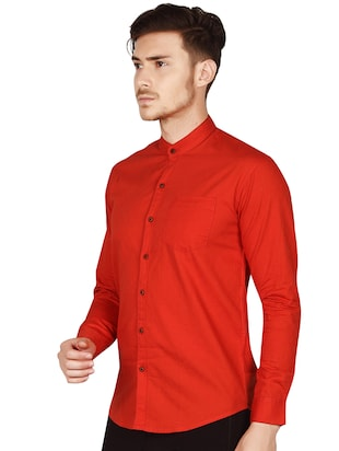 red cotton casual shirt - 15616556 - Standard Image - 3