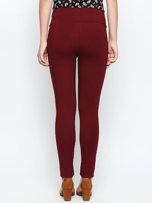 maroon solid high rise jegging - 15616871 - Standard Image - 3