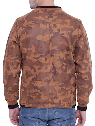 brown nylon casual jacket - 15619879 - Standard Image - 3