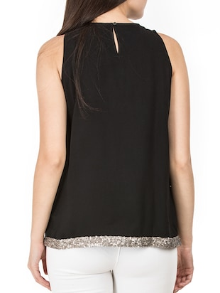 pleat detail neck sequined hem top - 15620633 - Standard Image - 3