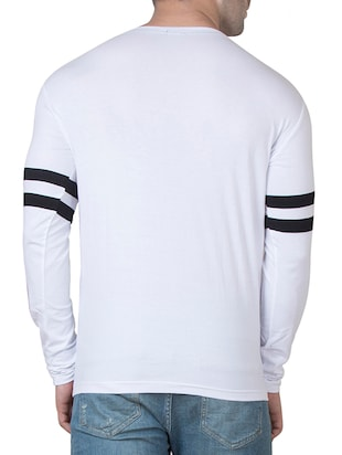 white cotton front print t-shirt - 15620652 - Standard Image - 3