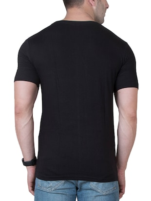 black cotton color block t-shirt - 15620676 - Standard Image - 3