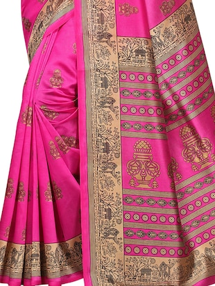 conversational printed saree with blouse - 15620768 - Standard Image - 3
