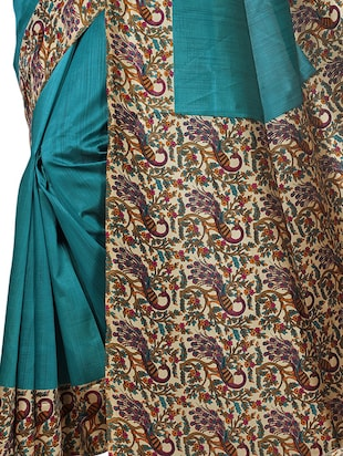 kalamkari printed border saree with blouse - 15620773 - Standard Image - 3