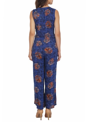 button detail full length jumpsuit - 15620866 - Standard Image - 3