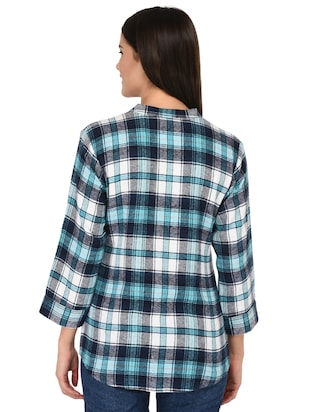 mandarin neck checkered shirt - 15621198 - Standard Image - 3