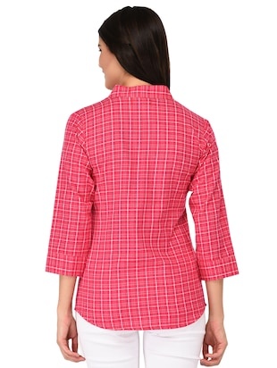 mandarin neck checkered shirt - 15621202 - Standard Image - 3