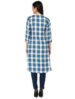 button detail glen plaid tunic - 15621206 - Standard Image - 3