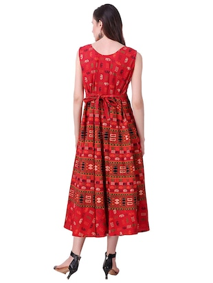 Printed a-line dress - 15621604 - Standard Image - 3