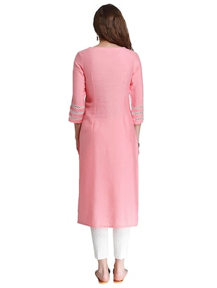 Embroidered straight kurta - 15621804 - Standard Image - 3