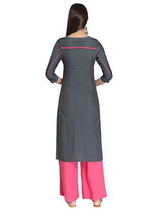 Straight embroidered kurta - 15621824 - Standard Image - 3