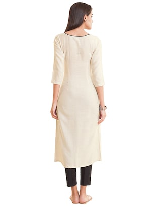 Double slit piping solid kurta - 15621849 - Standard Image - 3