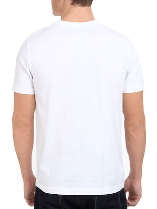 white cotton chest print tshirt - 15621913 - Standard Image - 3
