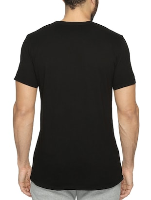 black cotton chest print tshirt - 15621927 - Standard Image - 3