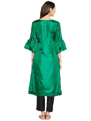 Bell sleeves art silk straight kurta - 15622393 - Standard Image - 3