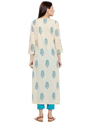 Printed piping straight kurta - 15622413 - Standard Image - 3