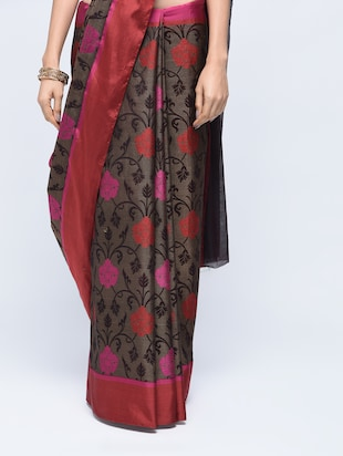 floral motif woven saree with blouse - 15622890 - Standard Image - 3
