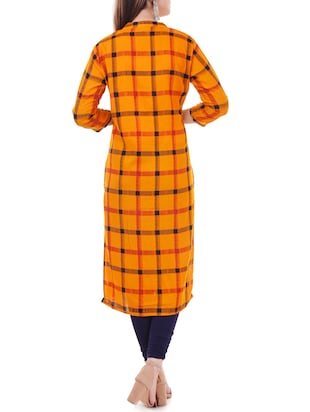 Checkered straight kurta - 15626357 - Standard Image - 3