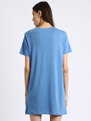 azure blue embroidered shift dress - 15637826 - Standard Image - 3