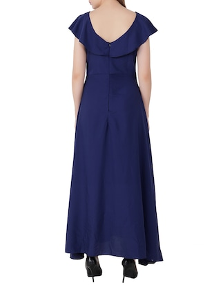 electric blue ruffle sleeved gown - 15661122 - Standard Image - 3
