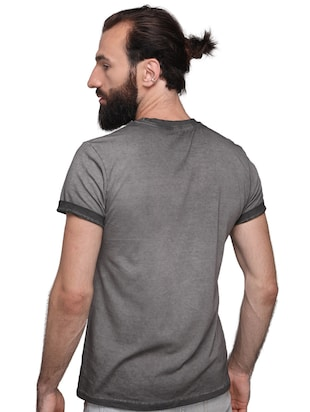 grey cotton front print tshirt - 15700486 - Standard Image - 3