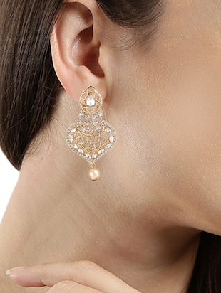 gold plated drop earring - 15706213 - Standard Image - 3