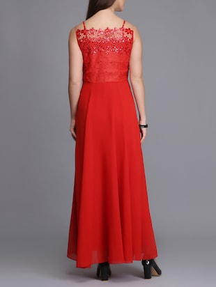 lace paneled sequined maxi dress - 15726274 - Standard Image - 3