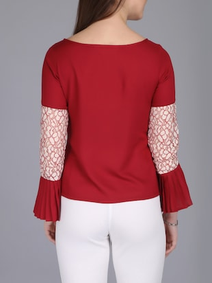 lace insert bell sleeved top - 15726284 - Standard Image - 3